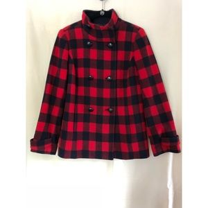 Talbots Wool Black and Red Plaid Coat